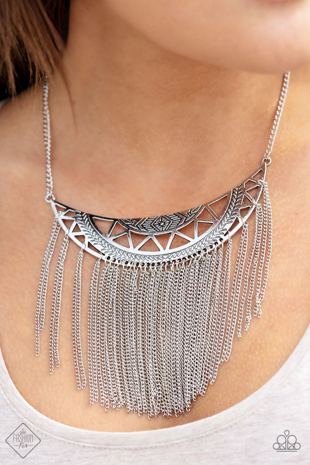 Empress Excursion - Silver Paparazzi Necklace - Pink Dragon Jewels