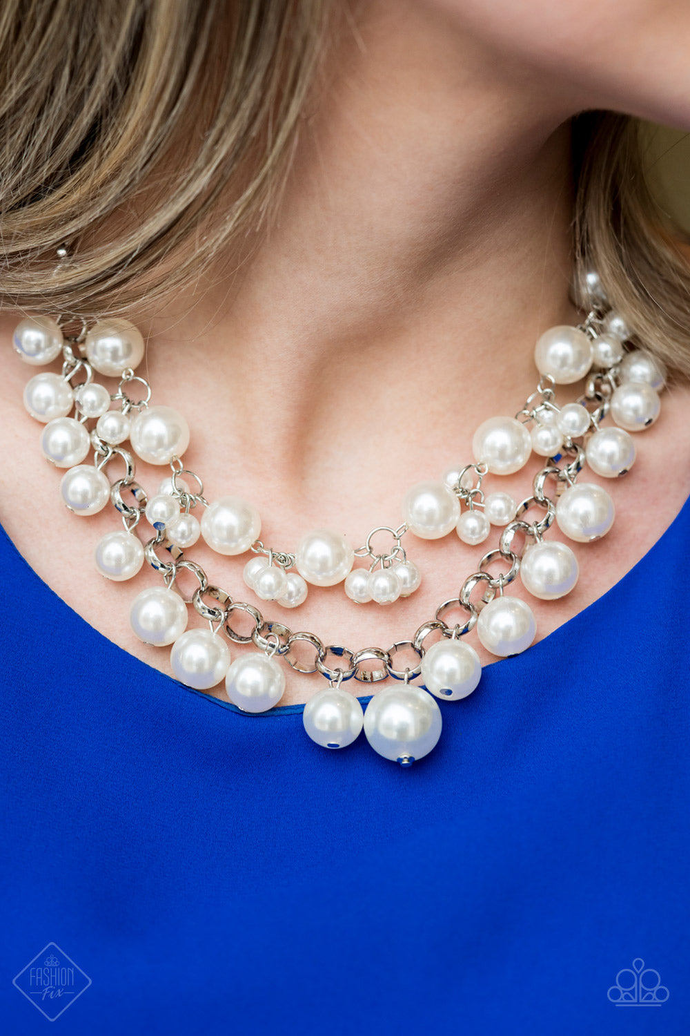 BALLROOM Service - White Paparazzi Necklace - Pink Dragon Jewels