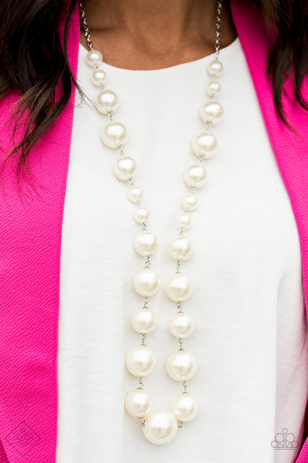 The Show Must Go On! - White Paparazzi Necklace - Pink Dragon Jewels