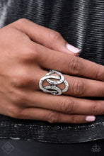 Load image into Gallery viewer, Triple The Texture - Silver Paparazzi Ring - Pink Dragon Jewels