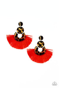 One Big Party ANIMAL - Red Paparazzi Earring - Pink Dragon Jewels