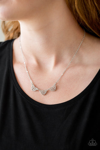 Another Love Story - Silver Paparazzi Necklace - Pink Dragon Jewels