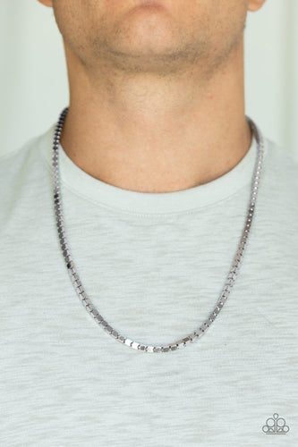 Boxed In - Silver Paparazzi Men's Necklace - Pink Dragon Jewels