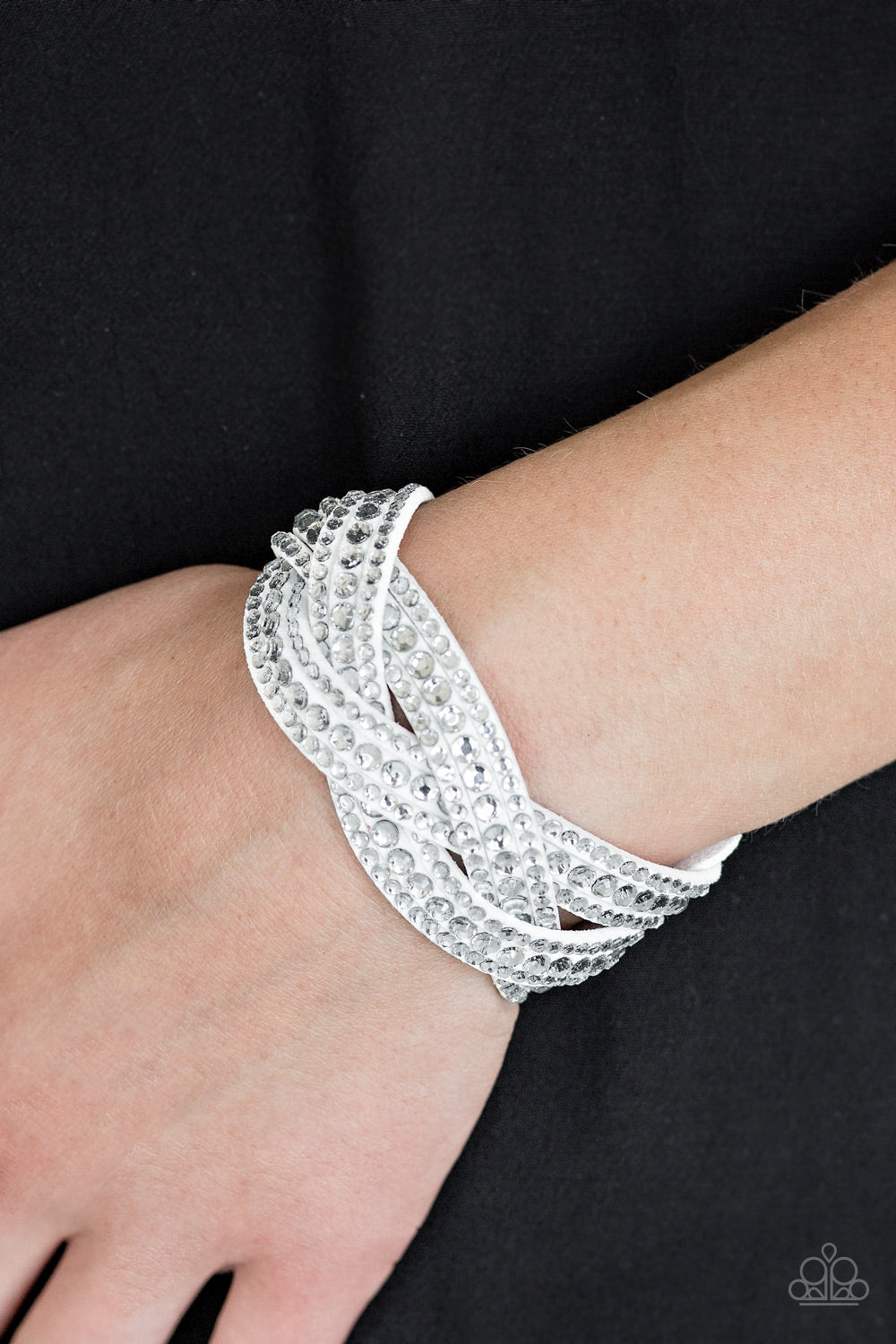 Bring On The Bling - White Paparazzi Bracelet - Pink Dragon Jewels