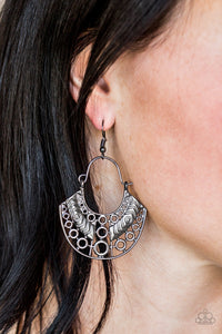 Indigenous Idol - Black Paparazzi Earring - Pink Dragon Jewels