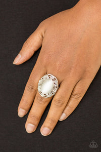 Moonlit Marigold - White Paparazzi Ring - Pink Dragon Jewels