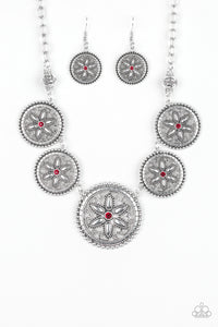 Written In The STAR LILIES - Red Paparazzi Necklace - Pink Dragon Jewels