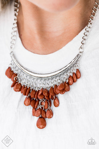 Rio Rainfall - Brown Paparazzi Necklace - Pink Dragon Jewels