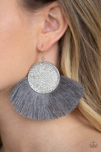 Foxtrot Fringe - Silver Paparazzi Earring - Pink Dragon Jewels
