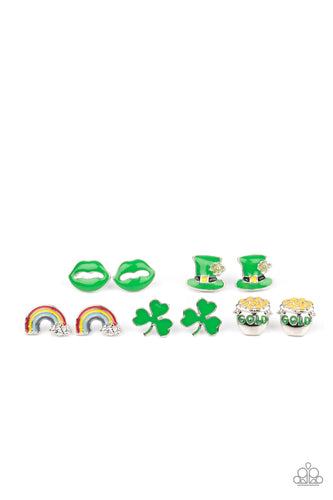 Paparazzi Jewelry | St. Patrick's Day Posts | Green and Rainbow Starlet Shimmer Earrings - Pink Dragon Jewels