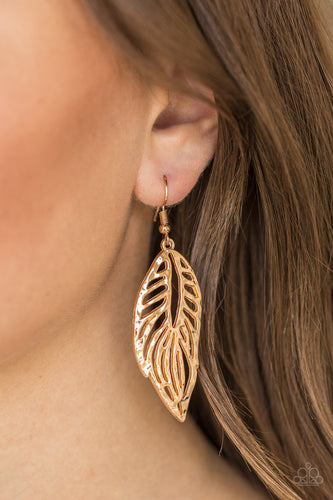 Come Home To Roost - Gold Paparazzi Earring - Pink Dragon Jewels