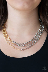 Metro Madness - Silver Paparazzi Necklace - Pink Dragon Jewels