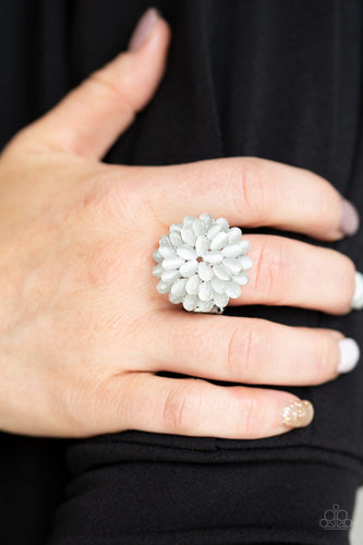 Bloomin Bloomer - White Paparazzi Ring - Pink Dragon Jewels