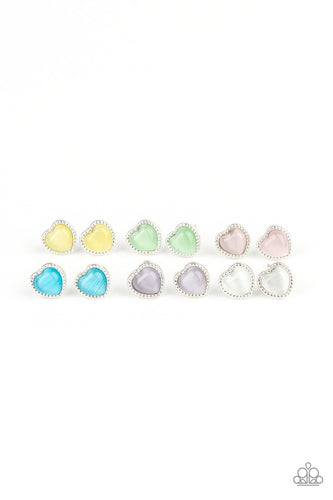 Glassy Stone Heart Posts - Paparazzi Starlet Shimmer - Pink Dragon Jewels
