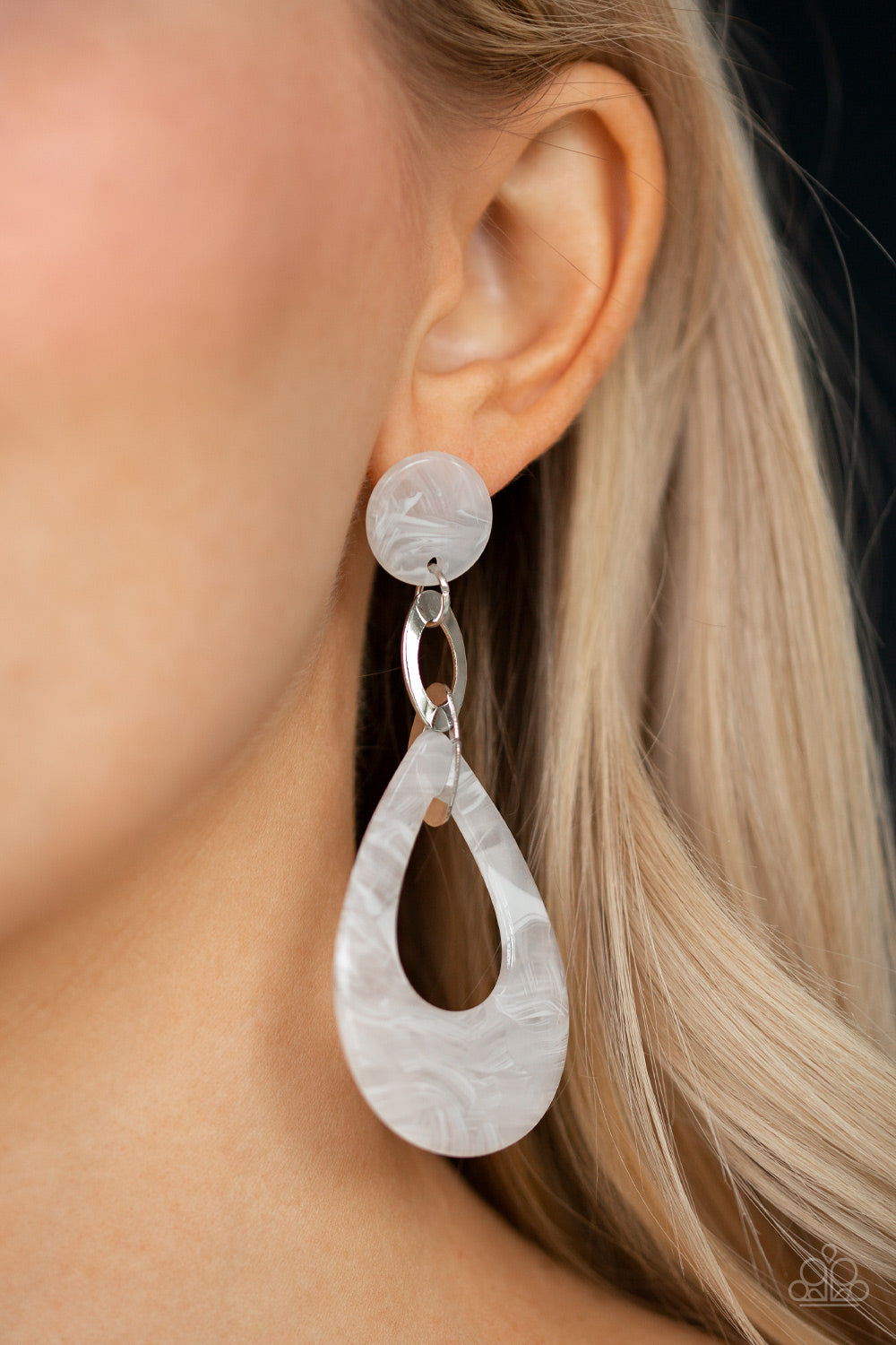 Beach Oasis - White Paparazzi Earring - Pink Dragon Jewels