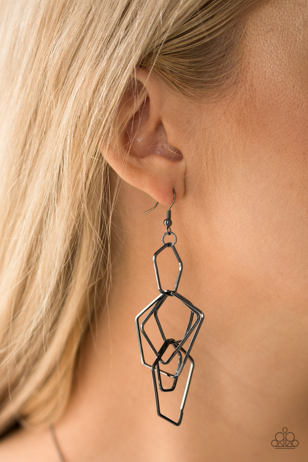 Five-Sided Fabulous - Black Paparazzi Earring - Pink Dragon Jewels
