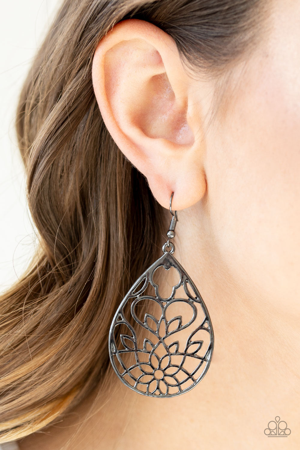 Lovely Lotus - Black Paparazzi Earring - Pink Dragon Jewels