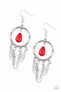 Southern Plains - Red Paparazzi Earring - Pink Dragon Jewels