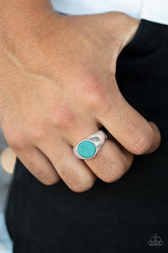Carbon Print - Blue Paparazzi Men's Ring - Pink Dragon Jewels