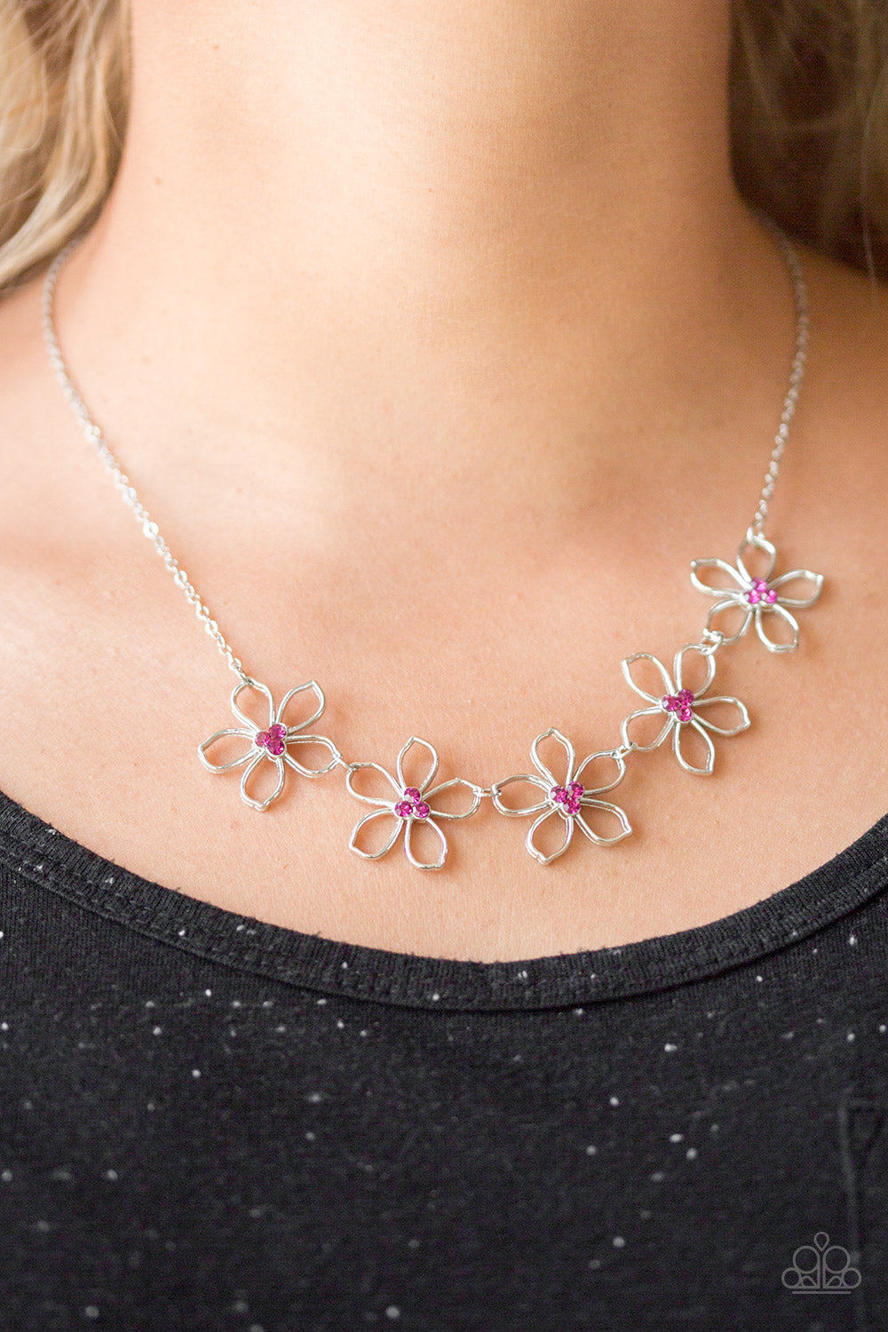 Hoppin Hibiscus - Pink Paparazzi Necklace - Pink Dragon Jewels