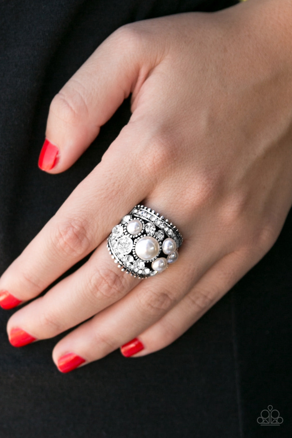 Money On My Mind - White Paparazzi Ring - Pink Dragon Jewels