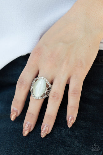 DEW Onto Others - White Paparazzi Ring: May 2020 Life of the Party - Pink Dragon Jewels