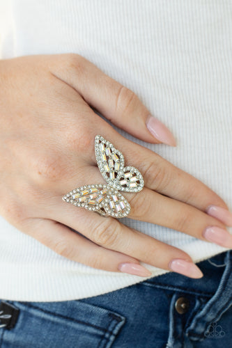 Paparazzi Jewelry | Flauntable Flutter - Multi | Iridescent Butterfly March 2021 Life of the Party Ring - Pink Dragon Jewels
