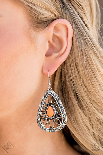 Floral Frill - Orange Paparazzi Earring - Pink Dragon Jewels