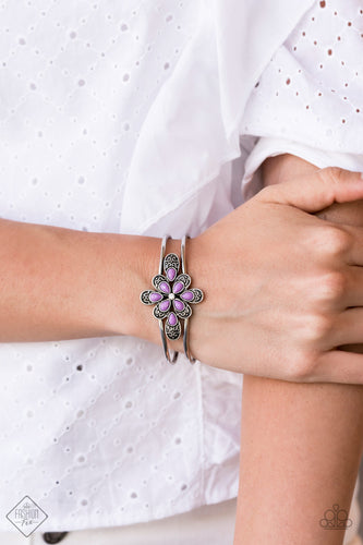 Go With The FLORALS - Purple Paparazzi Bracelet - Pink Dragon Jewels