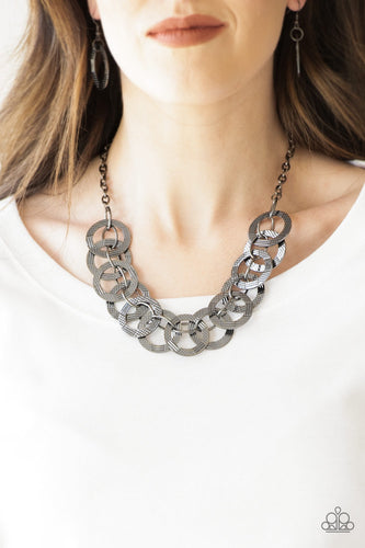 The Main Contender - Gunmetal Paparazzi Necklace - Pink Dragon Jewels