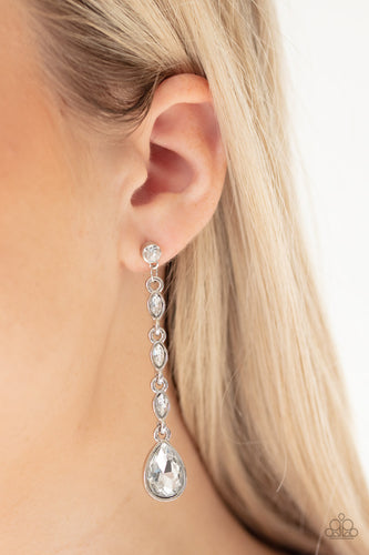 Must Love Diamonds - White Paparazzi Earring: April 2020 Life of the Party - Pink Dragon Jewels