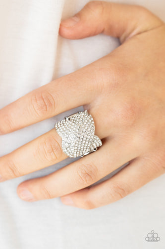 Scandalous Shimmer - White Paparazzi Ring: June 2020 Life of the Party - Pink Dragon Jewels