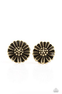 Flower Fever - Brass Paparazzi Post Earring - Pink Dragon Jewels