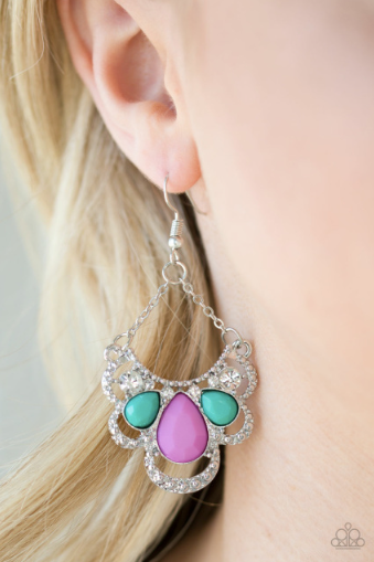 Caribbean Royalty - Multi Paparazzi Earring - Pink Dragon Jewels