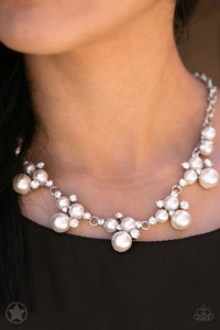 Toast To Perfection - White Paparazzi Blockbuster Necklace - Pink Dragon Jewels