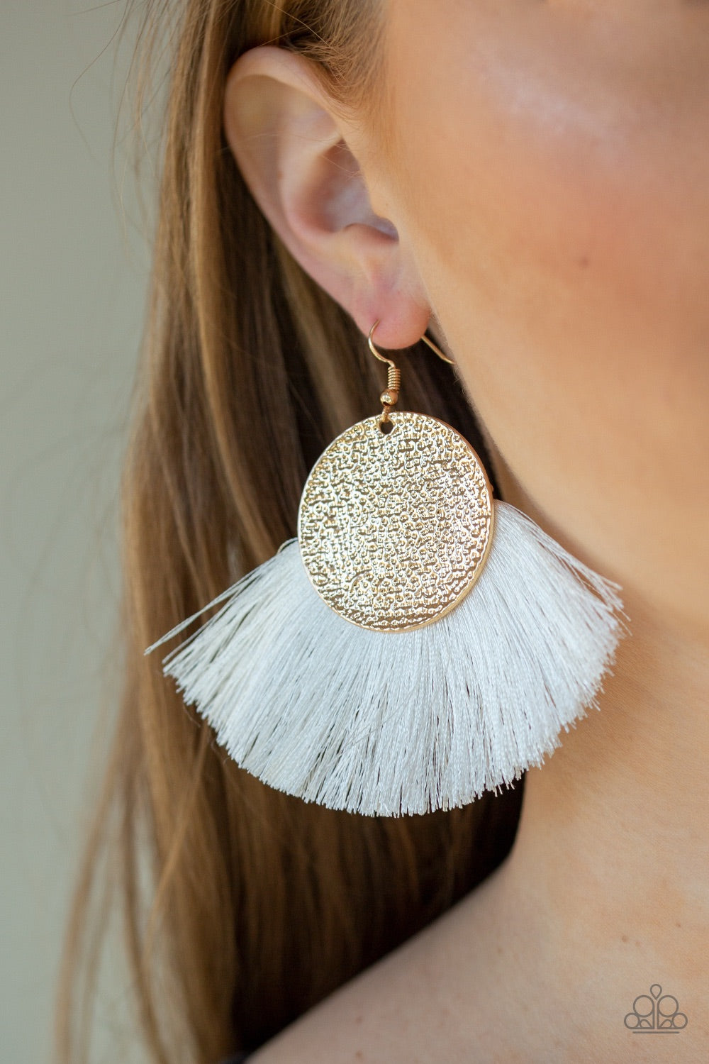Foxtrot Fringe - Gold Paparazzi Earring - Pink Dragon Jewels