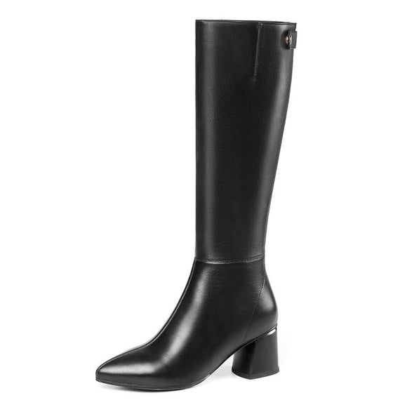 Black square heel mid calf boots