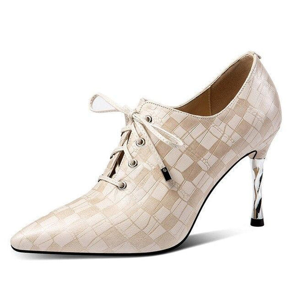 Fashion lace up high heels pumps shoes-apricot