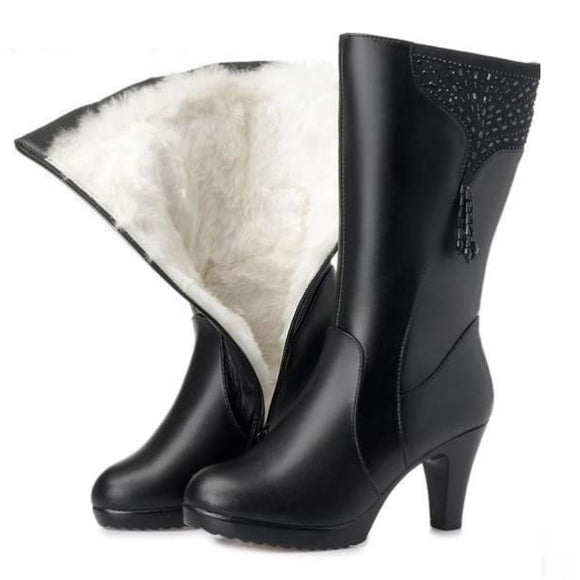 Heel balck leather womens mid calf boots