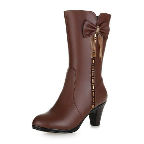 Heel leather womens mid calf boots with Butterfly-knot