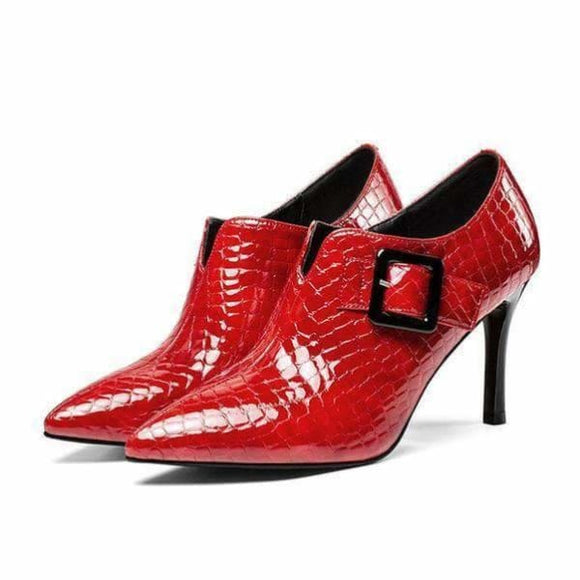 Ladies Office Pumps red and black heels shoes - Red / 3 - women shoes