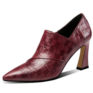 Quality high heels pumps shoes-wine red