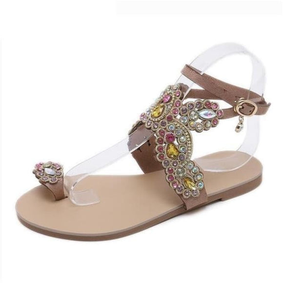 Rhinestone butterfly womens flip flops sandals - apricot / 6 - sandals