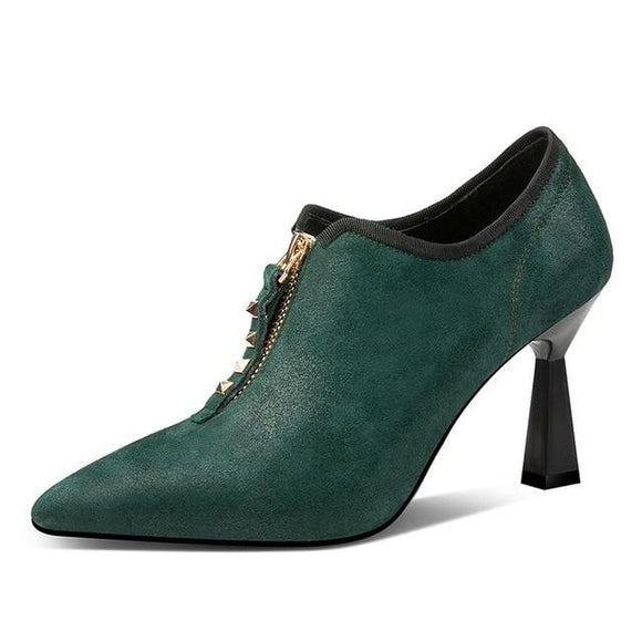 Rivet high heels  pumps shoes-green