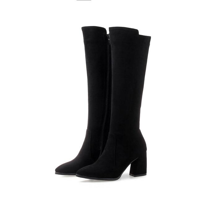 Square thick heel winter Knee High Boots