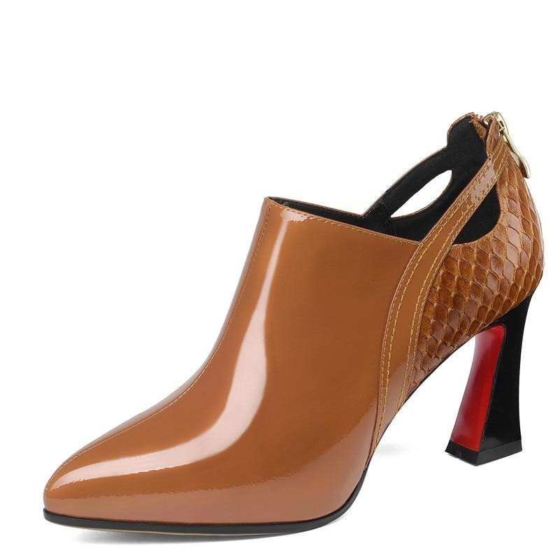 Womens elegant heels Pumps shoes-Brown