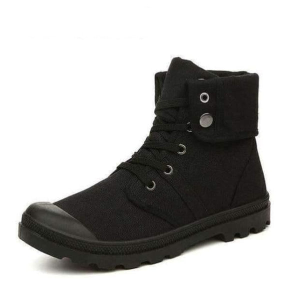 Style fashion high-top military ankle boots - All Black Boots / 7