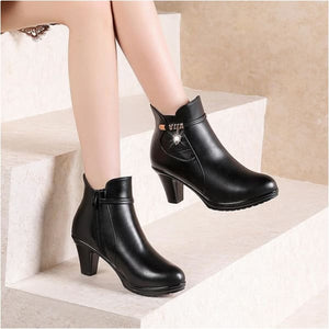 Womens leather heel ankle boots