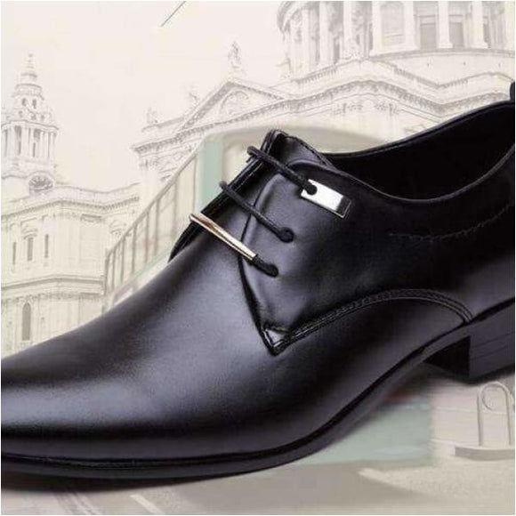 Men leather cap toe oxfords shoes