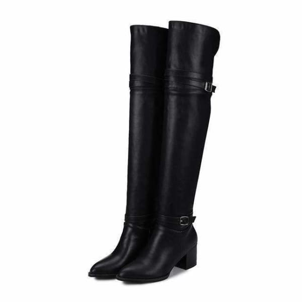 Womens Slip on over the Knee Boots - Black / 17